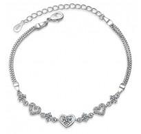 Eksluzivna srebrna zapestnica s srčki