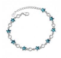 Luksuzna zapestnica iz srebra in kristalov Modre zvezdice