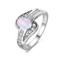 Čaroben srebrn prstan z opalom in kristali