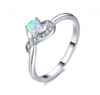 Čudovit prstan  Chic Heart z opalom in kristali