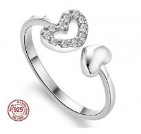 Čaroben srebrn prstan Double Heart