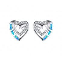 Srebni uhani Double Heart Birthstone