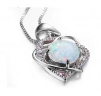 Čarobna srebrna ogrlica z opalom DoubleHeart