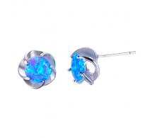 Čudoviti srebrni uhani z modrim opalom