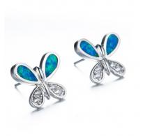 Srebrni uhani metuljček z prekrasnim modrim opalom in kristali CZ