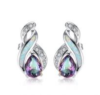 Prekrasni srebrni sijoči uhani z belim opalom in kristali CZ