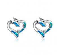 """Prekrasni srebrni uhančki """"srčki"""" z modrim opalom"""
