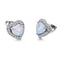 Čudoviti srebrni uhani z opalom in sijočimi kristali CZ