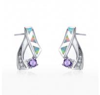 Čudoviti srebrni uhani z opali in kristali CZ