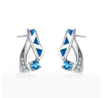 Čudoviti srebrni uhani z modrimi opali in kristali CZ
