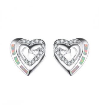 Prekrasni srebrni uhani v obliki srčka z opali in kristali CZ
