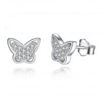 Elegantni srebrni uhani z CZ v obliki metuljčka