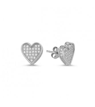 Srebrni uhani v obliki srčka s kristali CZ