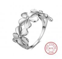 Eleganten srebrn prstan Flowers