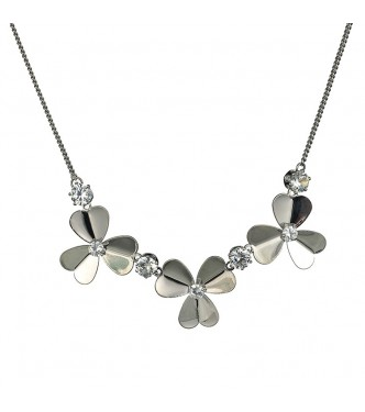 Ljubka ogrlica, 18K bela pozlata z belimi cirkoni