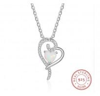 Srebrn obesek s kristali in opalom Heart in Heart