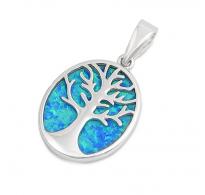 Srebrn obesek Drevo življenja z modrim opalom