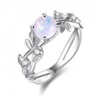 Čudovit prstan, 18K bela pozlata z opalom