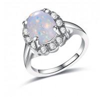 Edinstven prstan, 18K bela pozlata z opalom