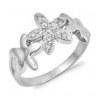 Ljubek srebrn prstan z rožicami