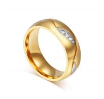 Eleganten prstan 316L nerjaveče jeklo v kombinaciji z očarljivimi kristali CZ