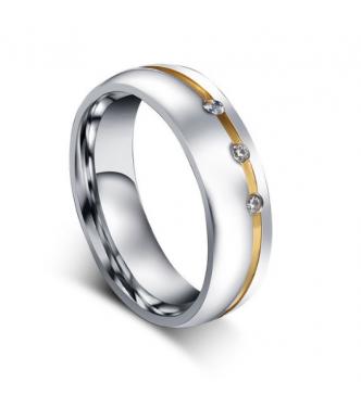 Čudovit prstan kombinacija 316L nerjavečega jekla, kristalov CZ in IP pozlate