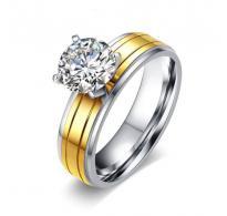 Čudovit prstan 316L nerjaveče jeklo z vpadljivim kristalom CZ