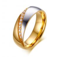 Prstan kombiniran nerjaveče jeklo, pozlata in kristali