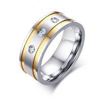 Prstan kombiniran nerjaveče jeklo, pozlata in kristalčki