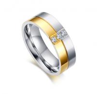Eleganten prstan kombinacija nerjavečega jekla in čudovite IP pozlate visokega sijaja