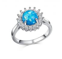 Eleganten prstan z modrim opalom