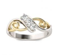 Prstan s srčki v zlato srebrni barvi