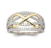 Edinstven infinity prstan razkošno okrašen s kristali CZ
