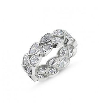Atraktiven, izjemno glamurozen srebrn prstan