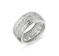 Atraktiven večno modern srebrn prstan s kristali CZ
