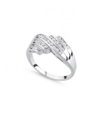 Čudovit srebrn prstan s kristali kubični cirkonij