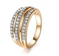 Atraktiven prstan 18K roza pozlata s kristali CZ