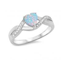 Srebrn lepotec s srčkom, kristali in opali