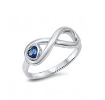 Neskončnost, srce in Blue Sapphire CZ kristal