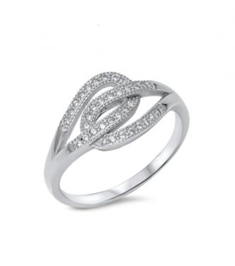 Zapleteno prepleten srebrn prstan