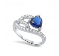 Čudovit srebrn prstan s kristalom Blue Sapphire