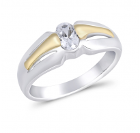Ličen srebrn prstan s kristalom CZ
