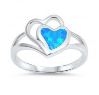 Dva srčka z modrim opalom