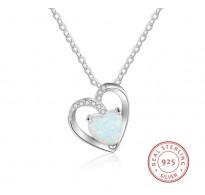 Srebrn obesek z opalom in kristali za romantično ljubezen