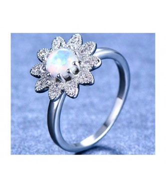 Prelesten prstan z opalom Sun Flower