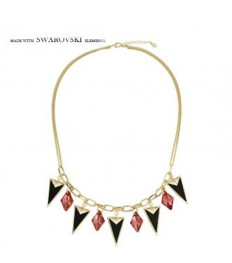 Razkošna pozlačena ogrlica s kristali Swarovski elements