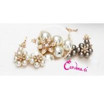 Atraktivna, razkošna pozlačena zapestnica s kristali in perlami