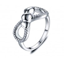 Edinstven prstan s kristali Heart&Infinity