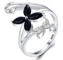 Moderen dizajn srebrnega prstana s cvetovi