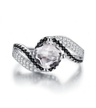 Kraljevski srebrn prstan v črno beli kombinaciji